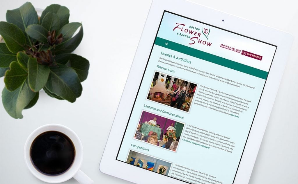 boston flower show responsive website -tablet view