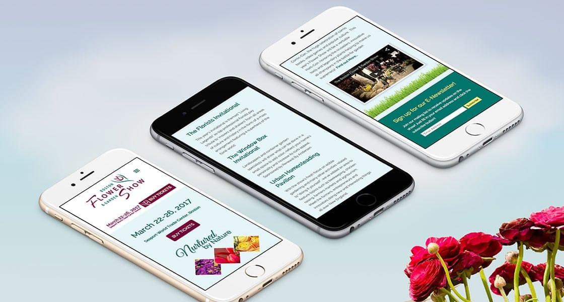 boston flower show responsive wordpress website mobile view