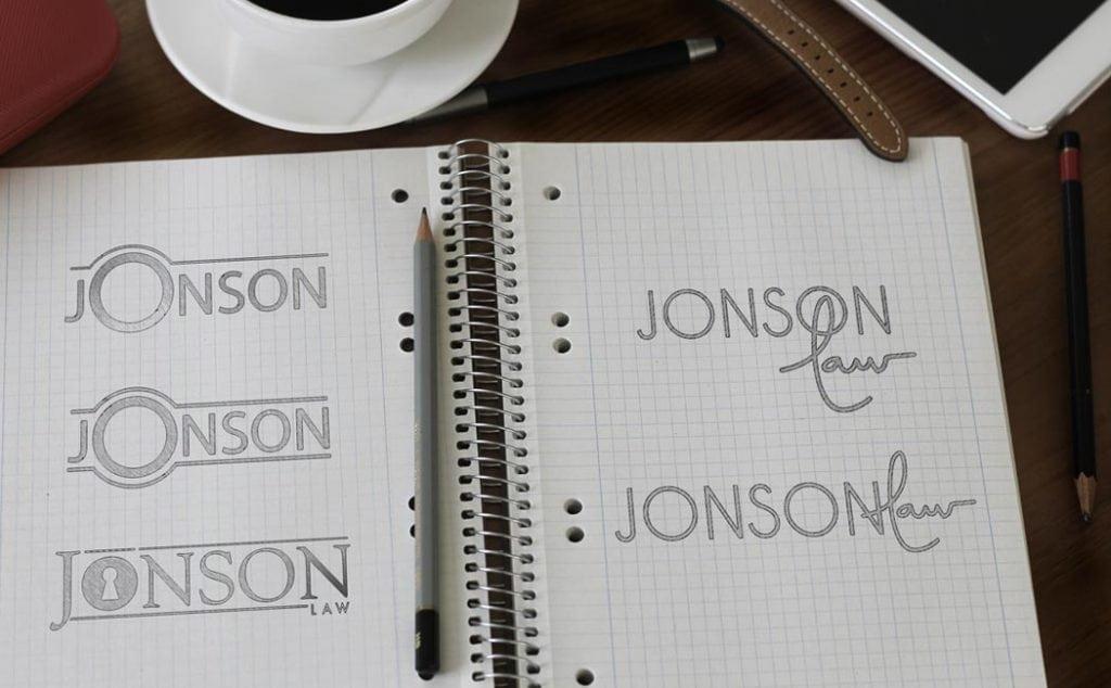 Jonson Law Logo Design Sketches