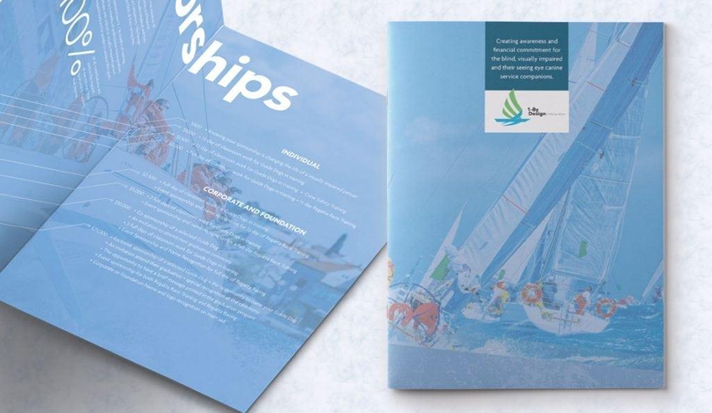Image of professional brochure design for sailing company in Boston Area