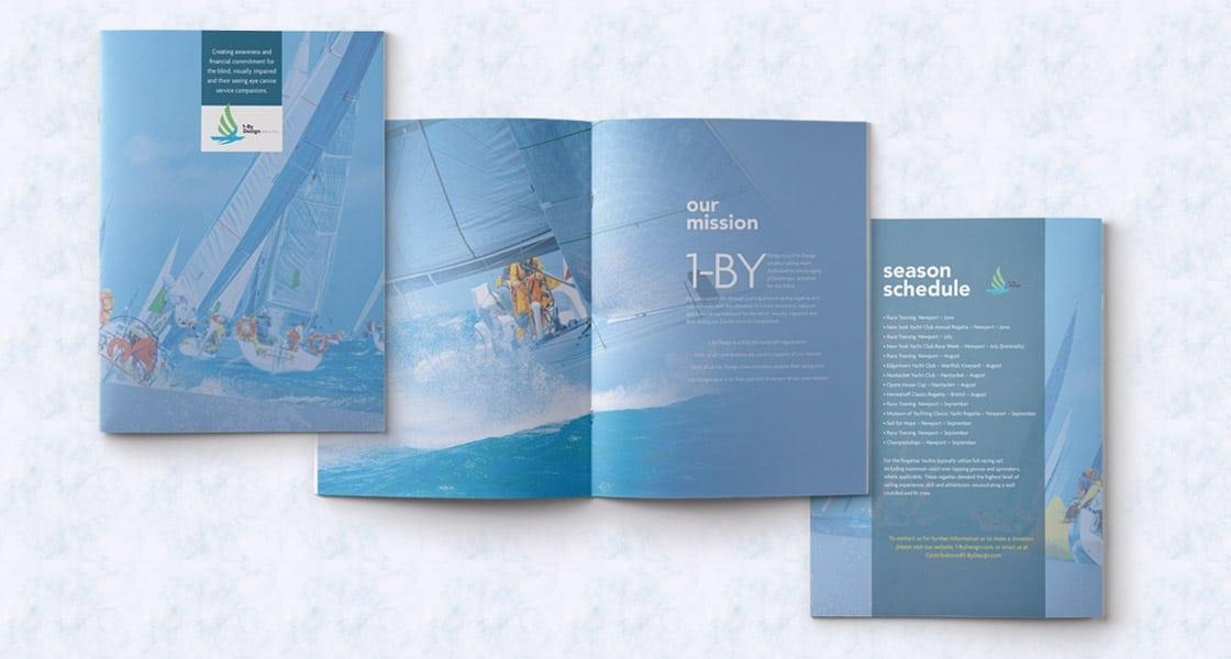 Image of brochure cover design and interior brochure page design for sailing company in Boston Area