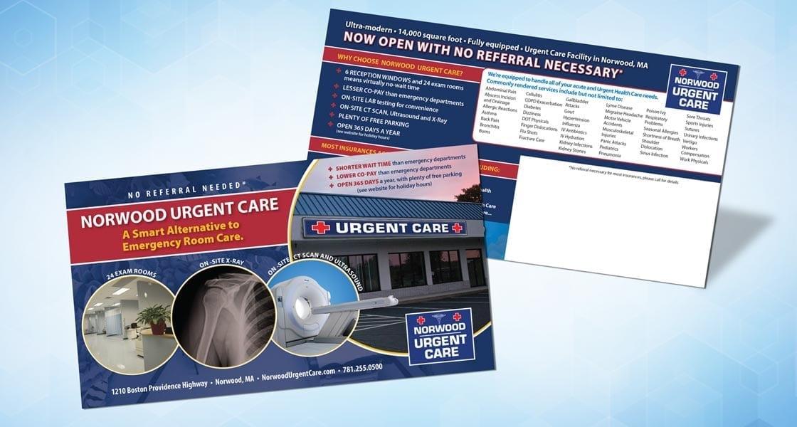 norwood urgent card direct mail postcard 11x6