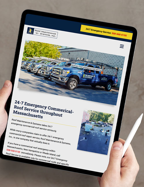 roof maintenance systems inc responsive tablet view
