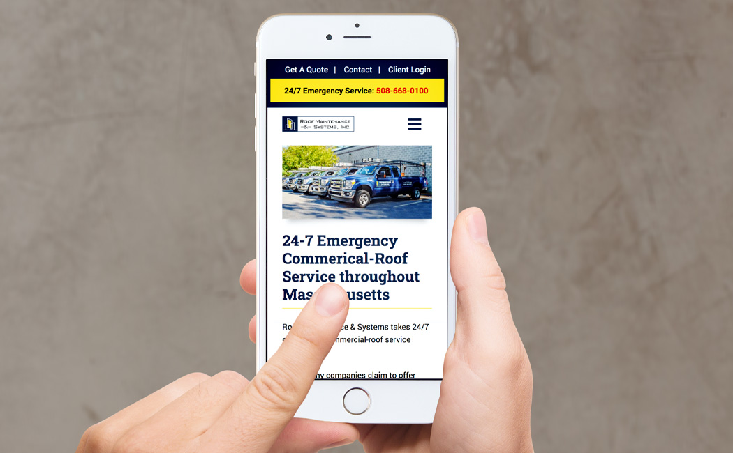 roof maintenance systems inc responsive website redesign