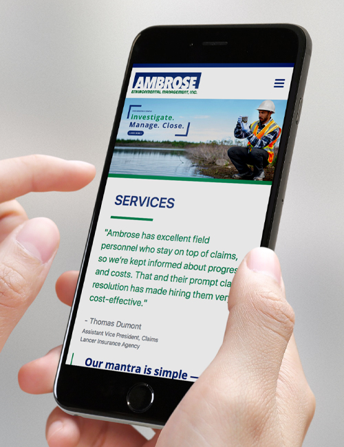 ambrose environmental management mobile website