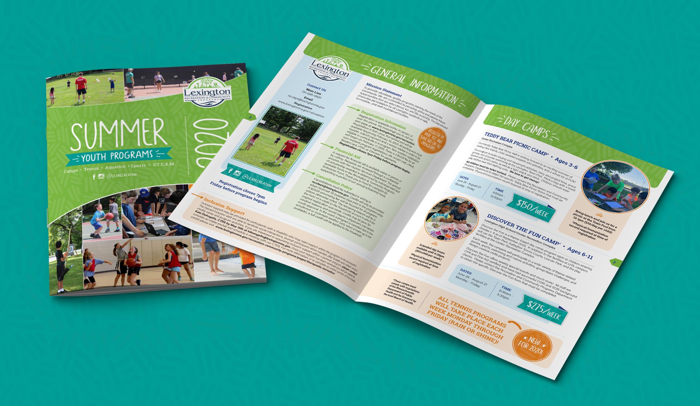 town of lexington summer youth program catalog design